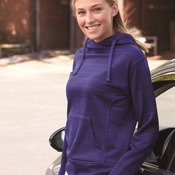 8662 Women's Odyssey Striped Performance Fleece Lapover Hooded Sweatshirt